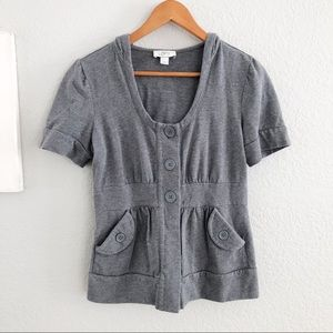 🔴 Loft Gray Button Up Short Sleeve Hooded Top